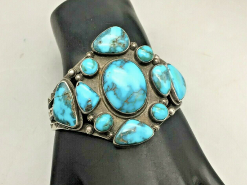A GREAT Older Turquoise Cluster Bracelet With SUPER Turquoise!