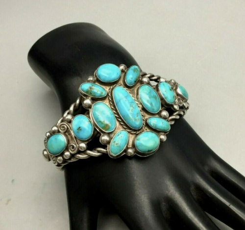 A Vintage, Handmade, Twisted Wire, Turquoise Cluster Bracelet