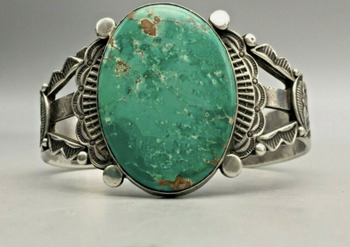 A Highly Collectible Old Handmade Turquoise Bracelet by Morris Robinson (Hopi)