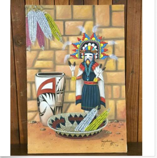 Jimmy Yellowhair, Navajo, Native American, Original, Oil painting