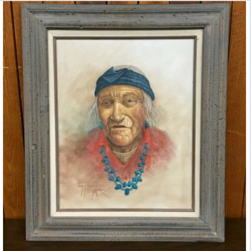 Jimmy Yellowhair, Native American, Navajo, Traditional, original, oil painting, signed