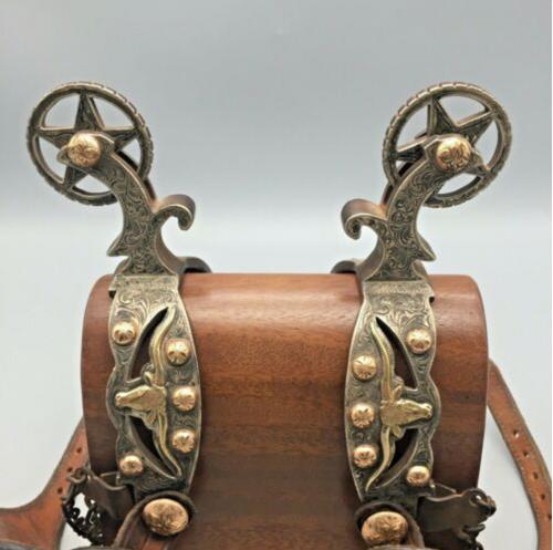 spurs, Steve Schmitt, 14K gold, sterling silver, good leathers, collectible, steer heads