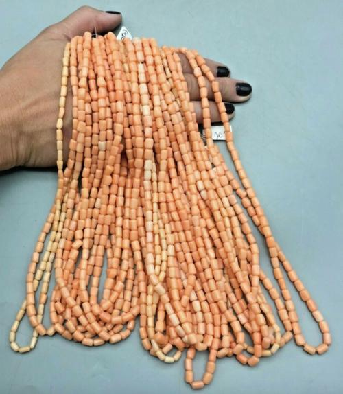 peach coral bead strands