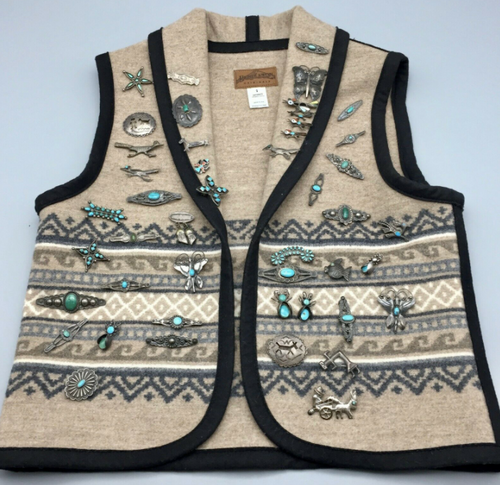 Pendleton Vest Covered With 46 Old Fred Harvey Pins