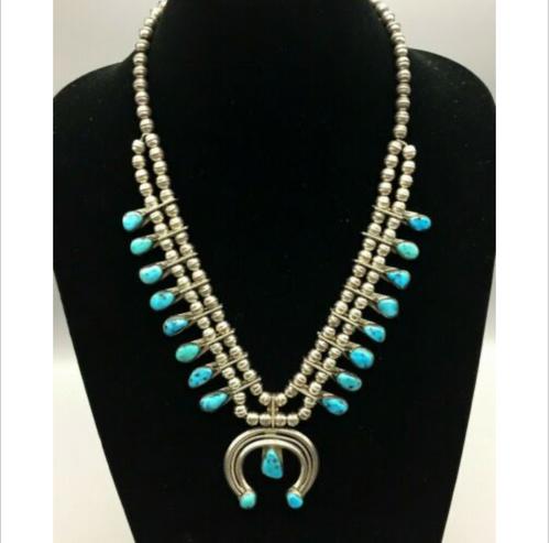 squash blossom necklace, turquoise, sterling silver, hallmarked Doris Smallcanyon, vintage