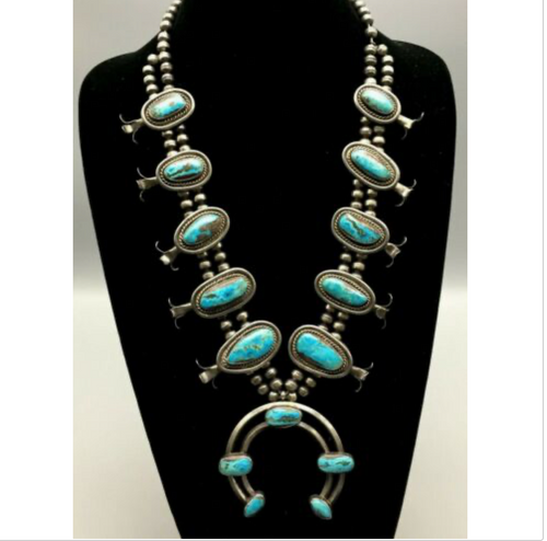 squash blossom necklace, turquoise, sterling silver, vintage, possible Bisbee turquoise