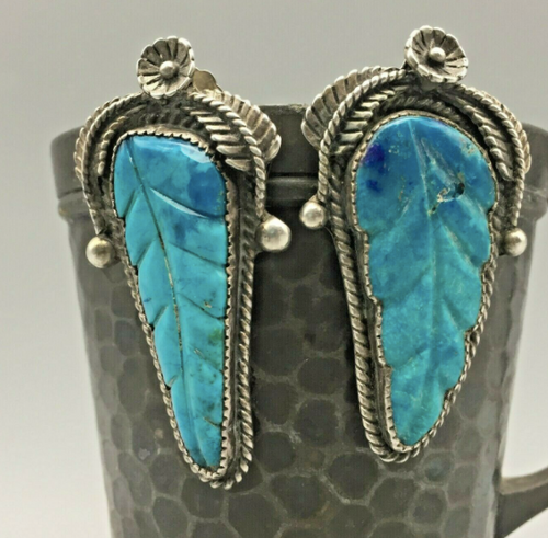 Carved turquoise leaf earrings