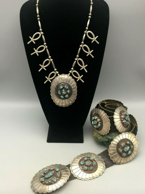 Lone Mountain turquoise concho belt and necklace