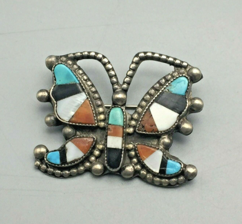 Zuni butterfly inlay pin