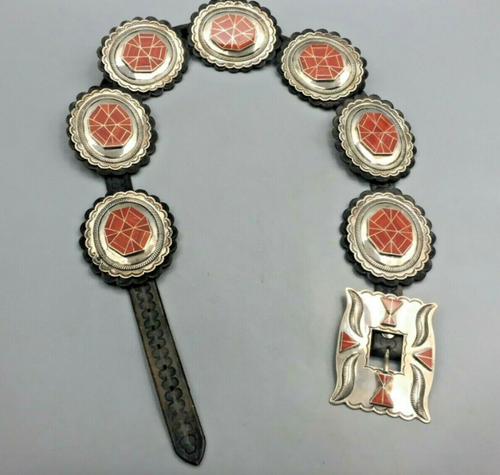 Exquisite coral inlay concho belt