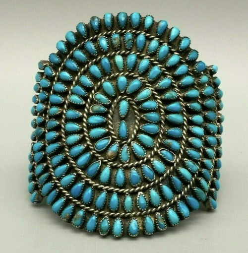 Fine turquoise cluster bracelet