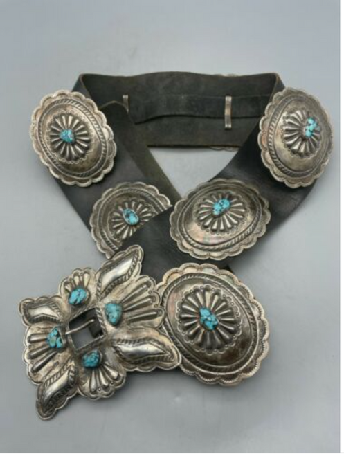 sterling silver and turquoise concho belt.