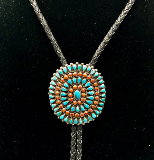 Coral and turquoise cluster bolo