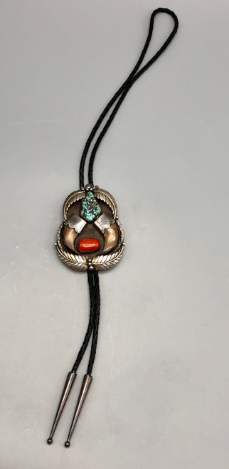 Turquoise, coral, and claw bolo tie