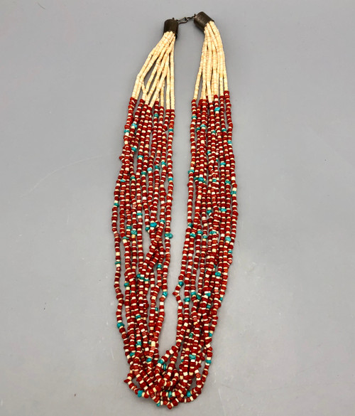 10 Strand Santo Domingo Coral Turquoise and Heishi Necklace