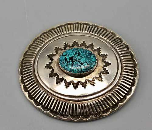 Spiderweb turquoise belt buckle