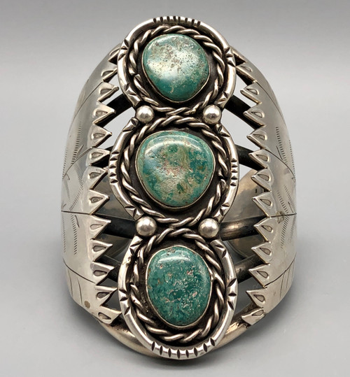 Substantial Statement Piece Three Stone Turquoise and Sterling Silver Bracelet