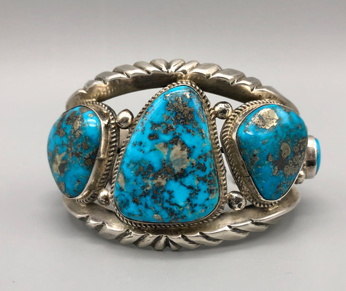 Magnificent Morenci Turquoise and Sterling Silver Bracelet