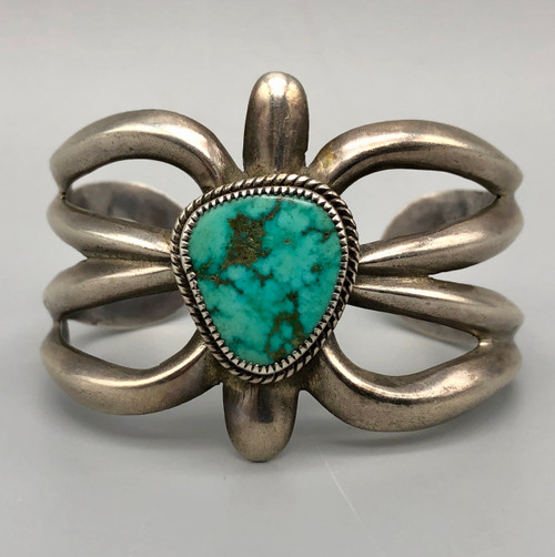 Exquisite Vintage Sterling Silver Sandcast Bracelet with Turquoise