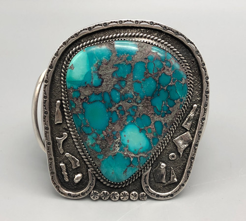 Enormous Turquoise and Sterling Silver Bracelet