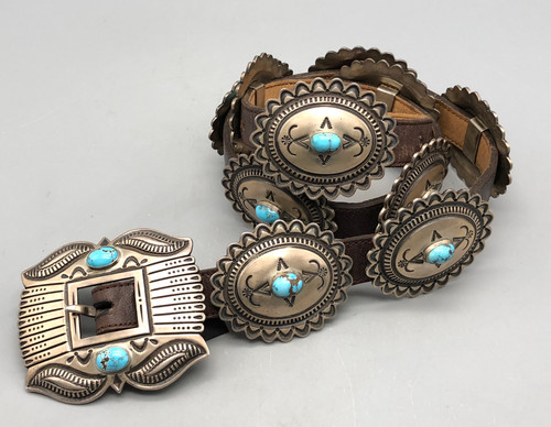 Gorgeous Turquoise and Sterling Silver Concho Belt by Curtis Pete