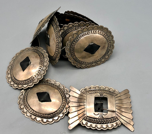 Circa 1940s First Phase Style Sterling Silver Concho Belt