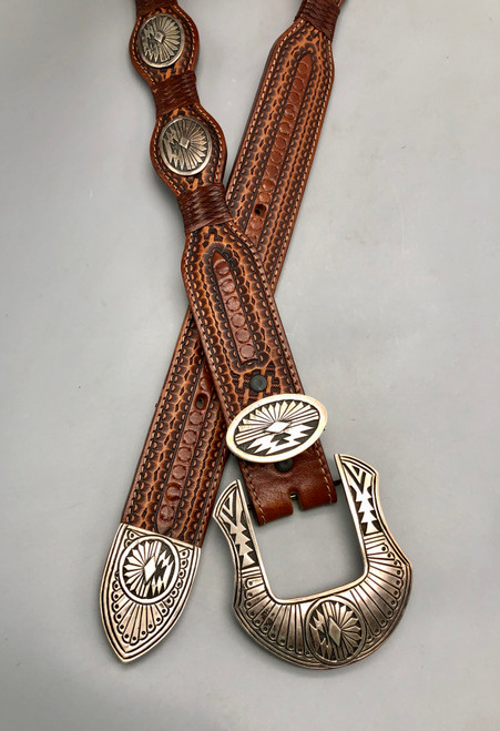 Quality Leather Belt with Navajo Silver