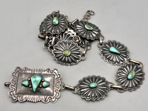 Vintage Turquoise and Sterling Silver Concho Belt