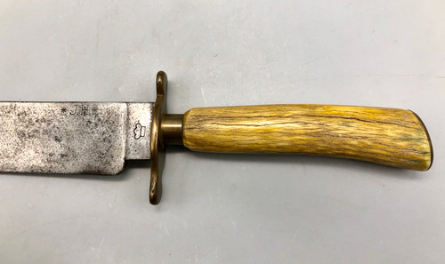 Bowie knife, stag handle, marked JH, 1800s