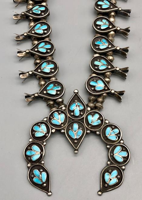 Dishta Style Turquoise Squash Blossom Necklace