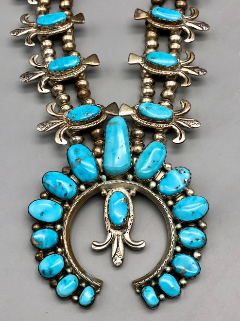 Gorgeous Turquoise and Sterling Silver Squash Blossom Necklace
