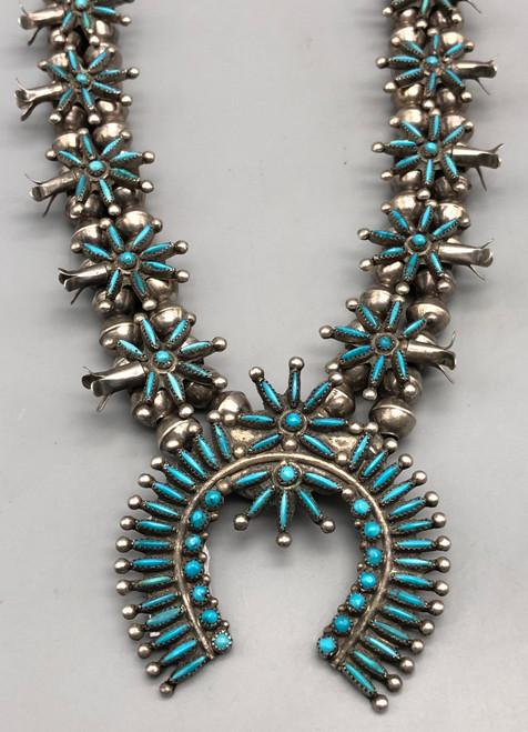 Charming 1940s - 50s Era  Zuni Needlepoint Squash Blossom Necklace