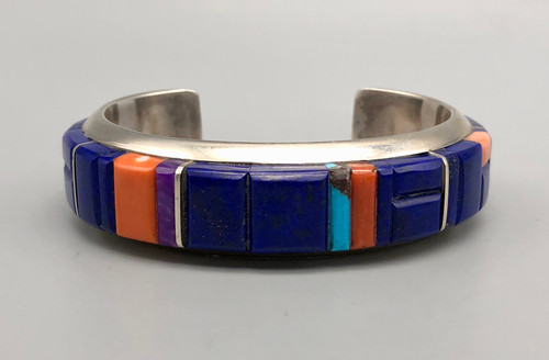 Spectacular Multi-Stone Inlay Bracelet by Wes Willie