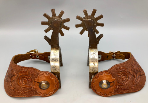 Canon City spurs, single mounted with silver, Canyon City Prison