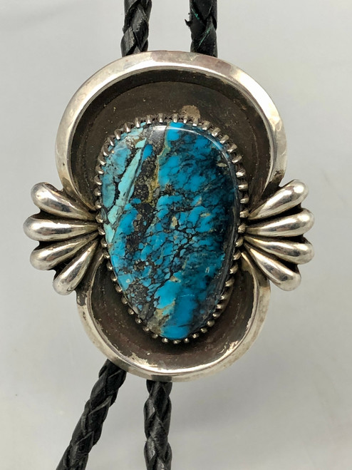 Exceptional Morenci Turquoise and Sterling Silver Bolo Tie
