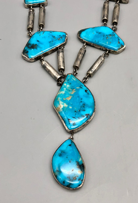 Stylish Turquoise and Sterling Silver Necklace