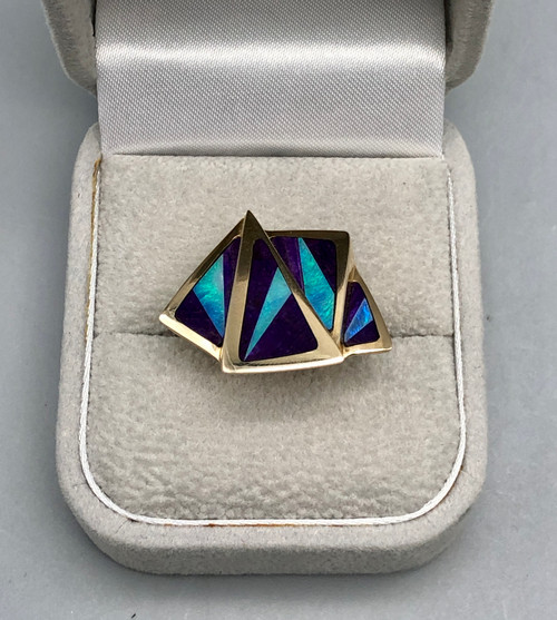 Outstanding Opal and Sugilite 14k gold Ring - size 7