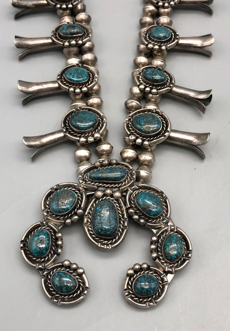 Fantastic Lone Mountain Turquoise Squash Blossom Necklace