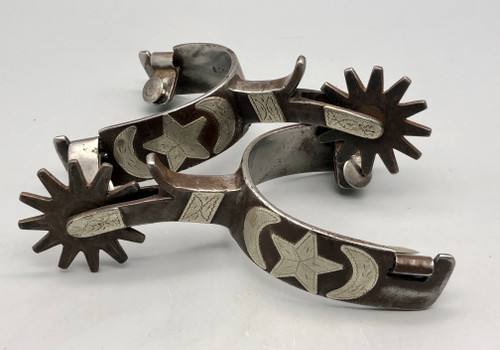 Rare! Early, Inside Marked O. Crockett Star and Moon Pattern Spurs