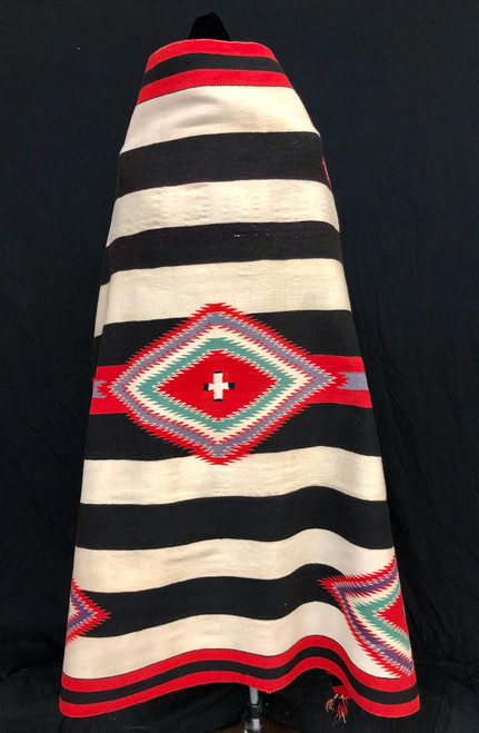 A Rare Navajo 3rd Phase Chief's Blanket Made From Germantown Wool - Circa 1890s