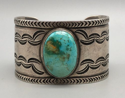 Circa 1950s Handmade Sterling Silver and Turquoise Cuff Bracelet