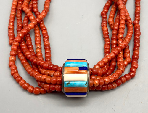 Exquisite Six Strand Coral Necklace with Unique Inlay Pendant