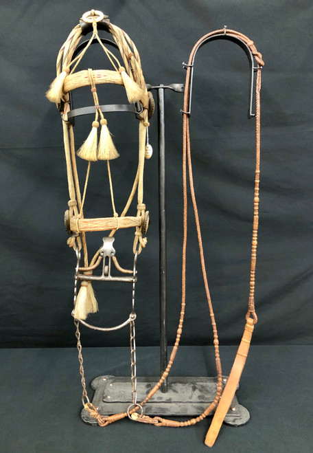 A Great Old Deer Lodge Hitched Horsehair Bridle with Buermann Spade Bit