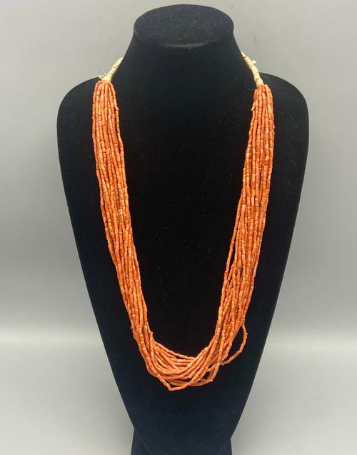 Gorgeous 19 Strand Vintage Mediterranean Coral Necklace