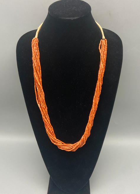 Stylish 10 Strand Vintage Coral Bead Necklace