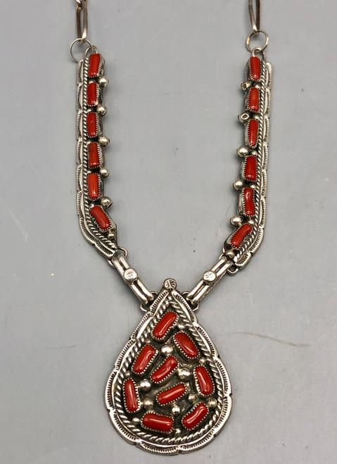 Radiant Vintage Coral Cluster Necklace