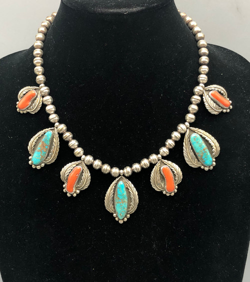 Timeless Vintage Turquoise and Coral Necklace