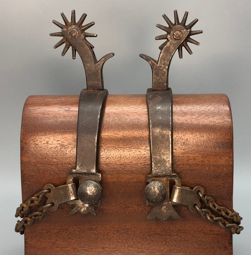 California style spurs, silver mountings, chap guards, heel chains