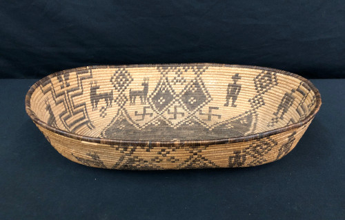 Western Apache, Yavapai, oval basket, Native American, dog or coyote tracks, deer, whirling logs, butterfly design and human figures man and woman, willow and devil's claw