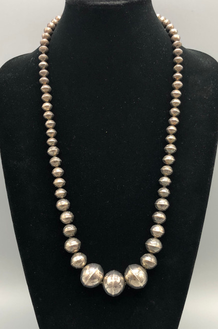 Beautiful Long Hand Stamped Navajo Pearl Necklace